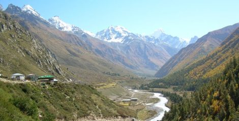 The gorgeous Baspa meandering through the narrow Sangla valley. in Chitkul