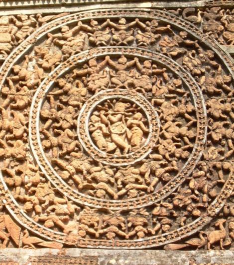 Ras Leela by Lord Krishna depicted on Terracotta Panels of Shyam Rai Temple, Bishnupur
