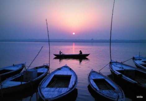 Sunrise at the Assi Ghat in Varanasi