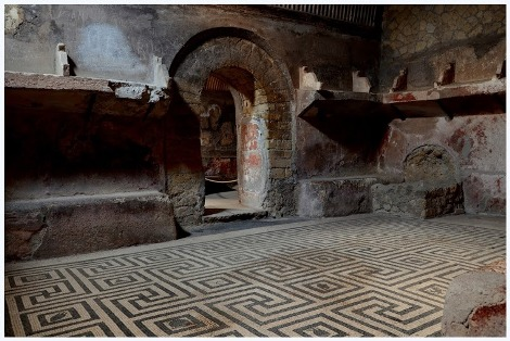 A room with mosaic floor in Ercolano.