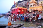 Ritualistic bathing on the Dashaswamedh Ghat in Varanasi