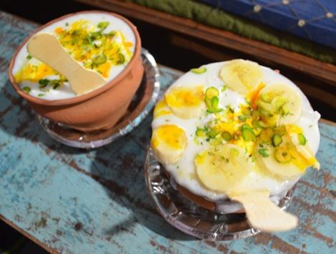 Banana Lassi served at Blue Lassi Shop