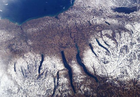 Finger Lakes in New York State | Credit: The image was catalogued by one of the centers of the United States National Aeronautics and Space Administration (NASA) | www.wikimedia.org